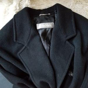 MaxMara black virgin wool black overcoat size 10